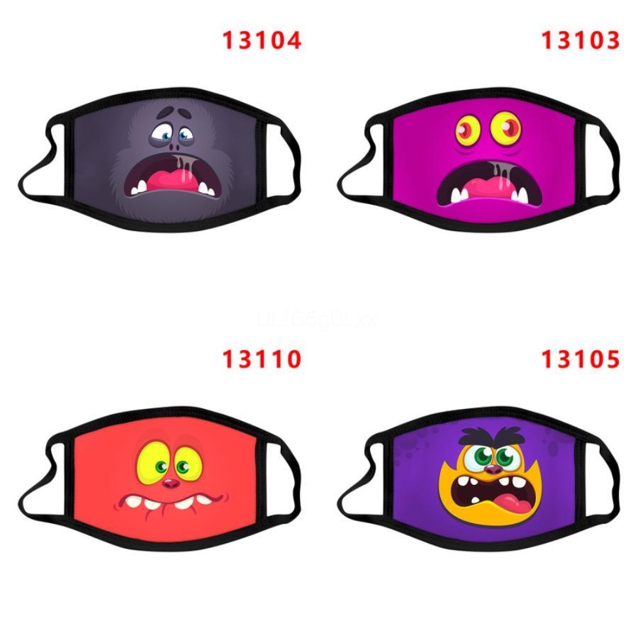 Cartoon Face Mask Nero purificazione dell'aria Nebbia Bocca Filtro fumetto maschera antipolvere lavabile e traspirante unisex Impedire goccioline di diffondersi # 951