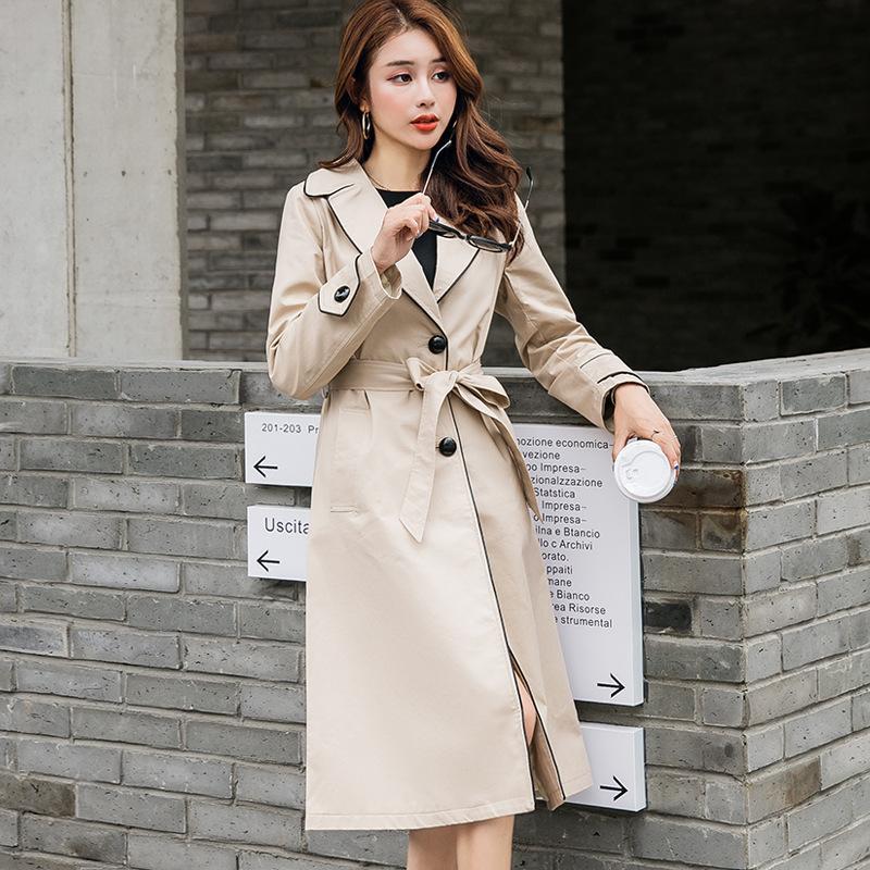 Женская траншея мода мода одномоточная длинное пальто для женщин Осень Хаки тонкий ремень плащ Мудрера ветровка женское abrigos yq418