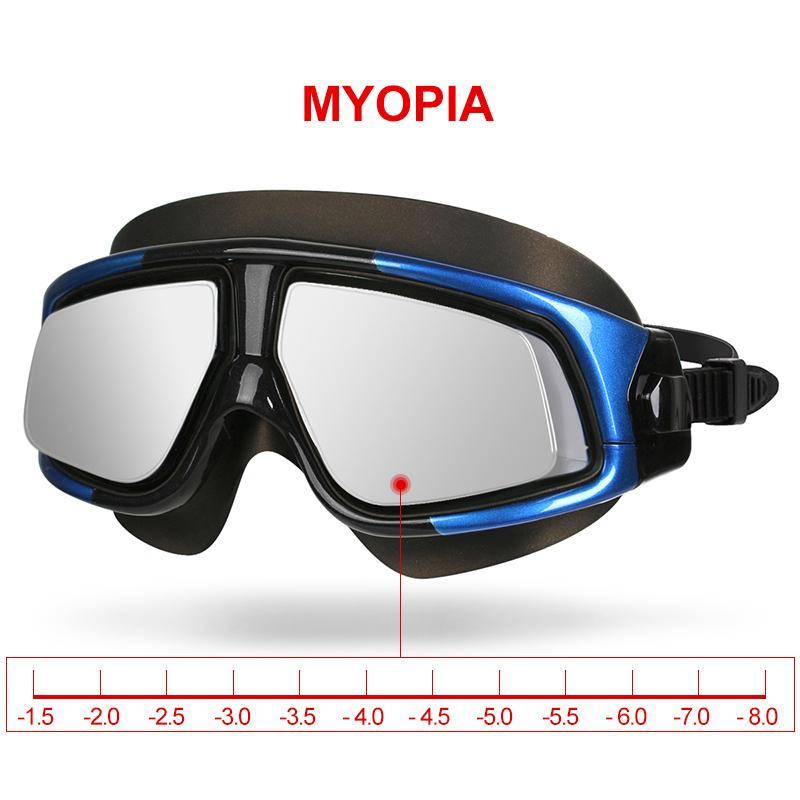 Copozz قصر نظر نظارات السباحة للماء لمكافحة الضباب فوق البنفسجية نظارات السيليكون المتطابقة إطار كبير للجنسين الرياضة قصر النظر السباحة قناع