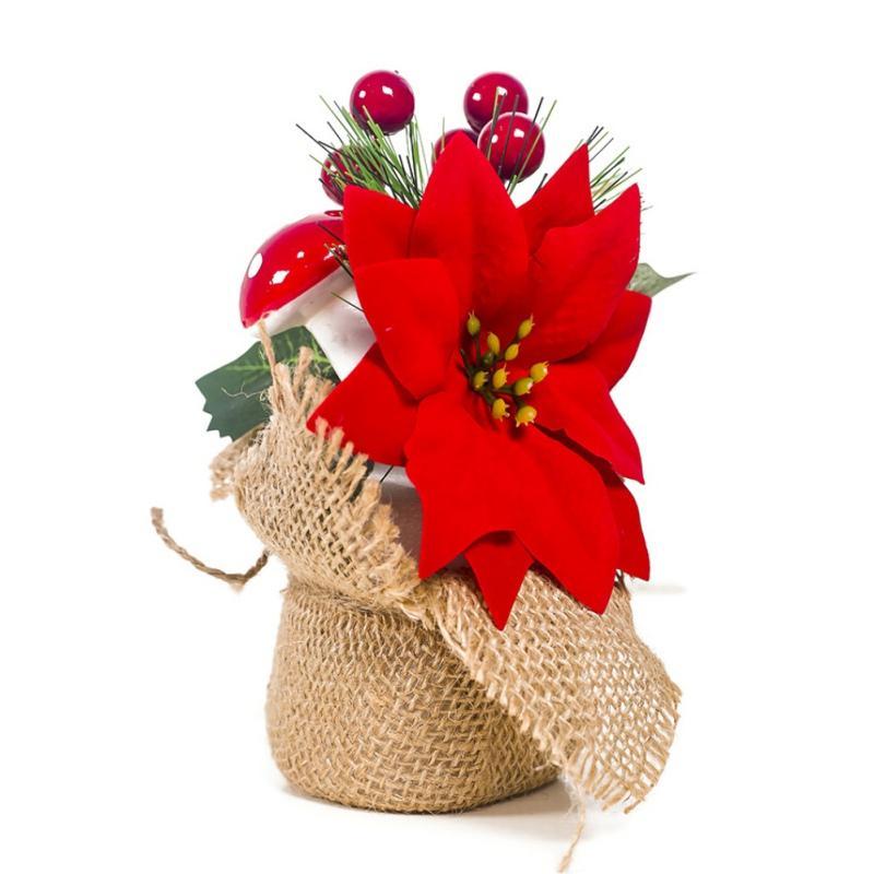 Yılbaşı Ağacı Süsleri Yapay Noel Mini Ağacı ile Karpuzu Ve Pine Cone Dekorasyon Tatil Masa Süsleme