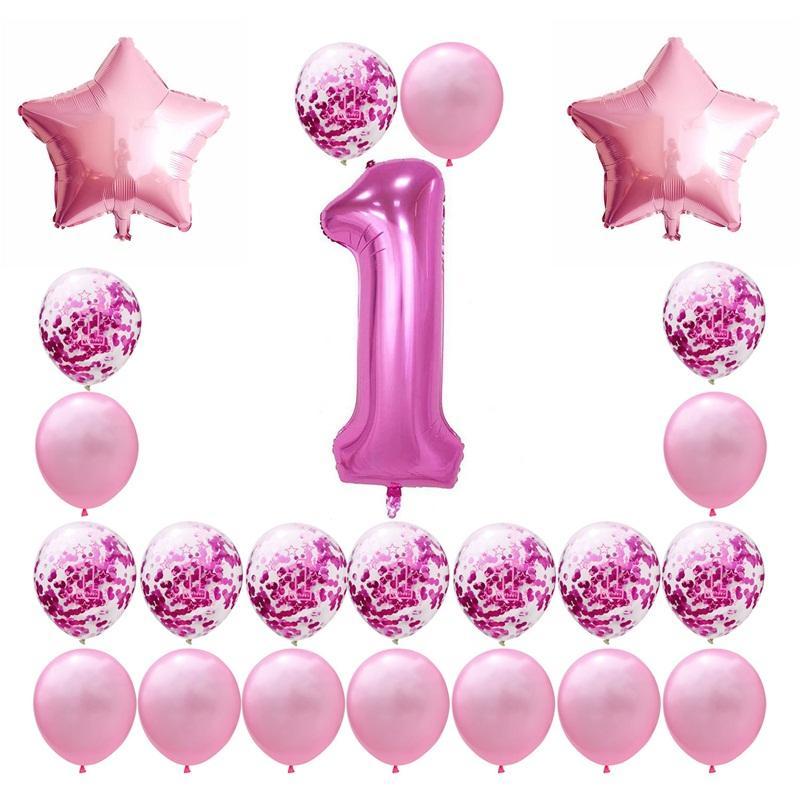 40 Festival de globos Digital Baby Shower Globos bebés Una fiesta de cumpleaños año viejo pulgadas de papel de decoración Recortes Airballoon 19gl L1