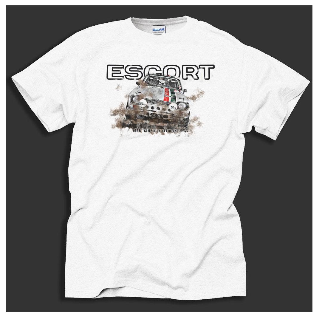 Divertente Abbigliamento casual RAC manica corta estate Mk1 Escort Rally Vincitore Retro Car Racer White T-shirt ideale regalo Tee Shirt