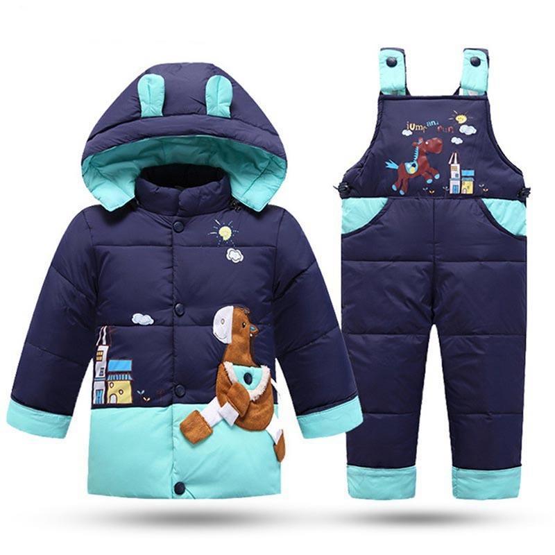 Зима Детская одежда мальчика детский зимний комбинезон Набор детей вниз куртка Комбинезон для девочек Ребенок Теплый парк с капюшоном пальто + Pant младенца Шинель C0924