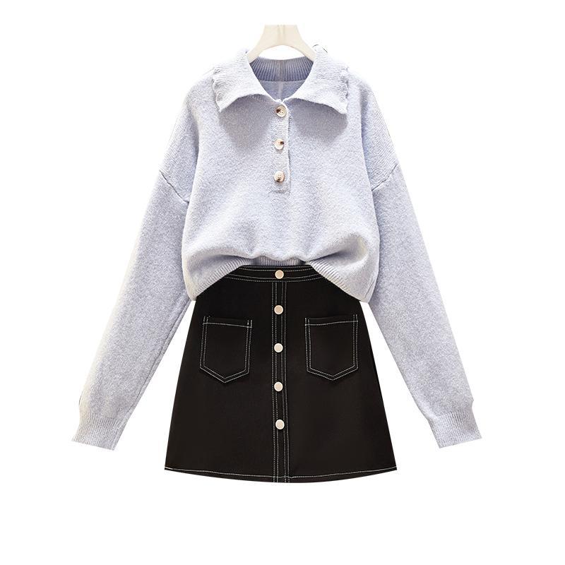 Herbstausstattung neuen Satzes Hülsen lange Pullover Revers Studenten Rock Frauen machen Outfit top line Anzug schwarz Eine gestrickte Pullover
