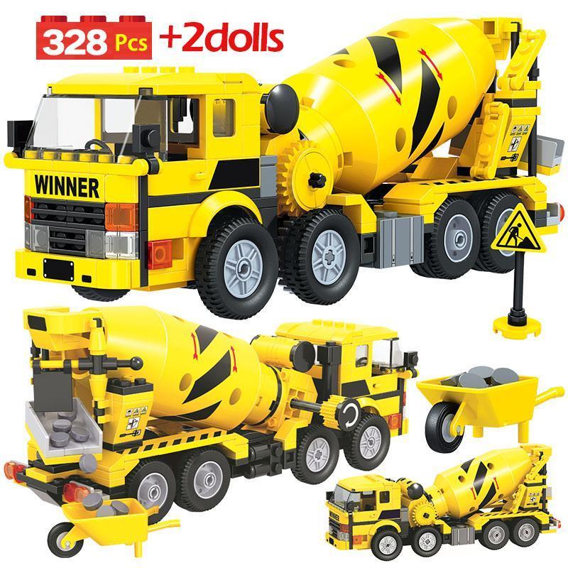 Yellow Car carregador de carro de rolo da cidade para a combinação de estrada Bricks Caminhões Engenharia Edifício crianças 700pcs Mixer Blocos Brinquedos NHZXt ly_bags