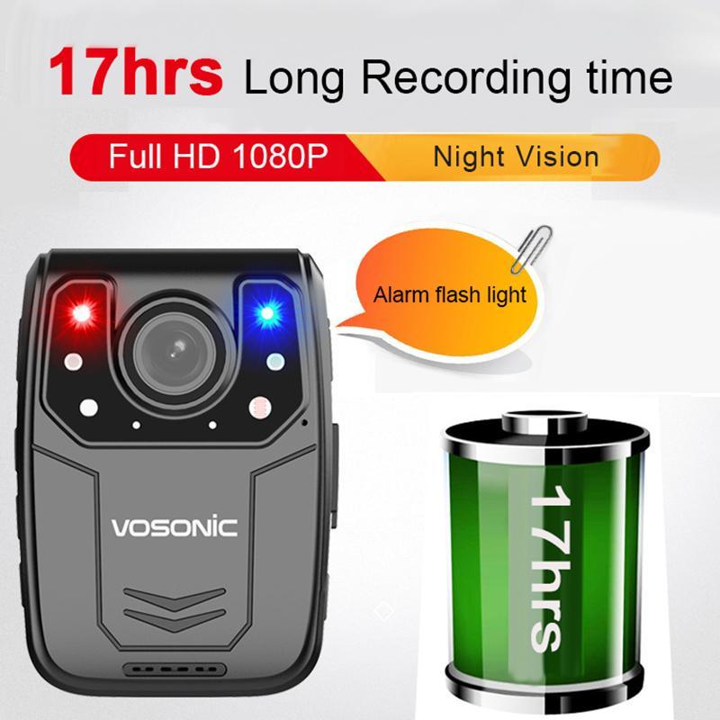 FHD 1080P 30fps تجهيز 34MP 17hrs تسجيل وقت HD جسم السيارة كاميرا DVR تسجيل صوتي الشرطة مصغرة البالية كاميرا الفيديو كاميرا