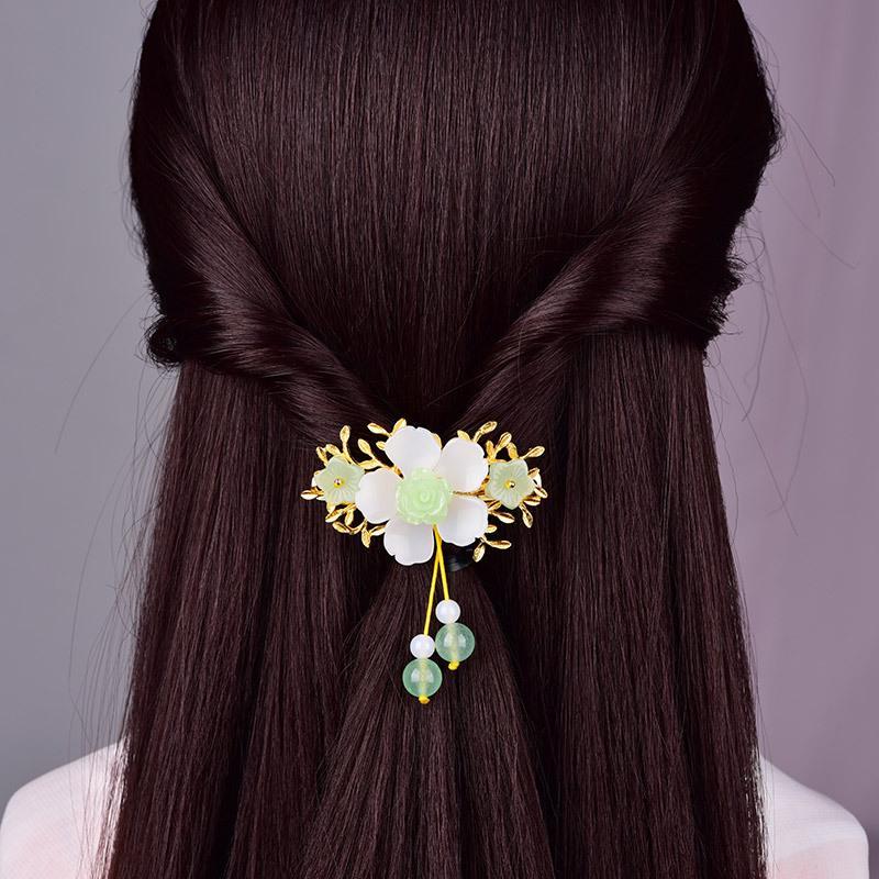 Jóias Moda Antiga Retro chinesa Princesa Cabelo requintados de cobre Folhas de liga Colorido Glaze Flor Grampos
