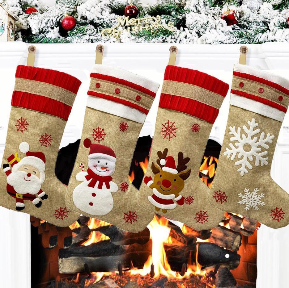 Decorazioni di Natale Large Size Calze di Natale ornamenti ciondolo Stivali per i bambini di Capodanno Candy Bag regalo Camino Albero gioielli HHF1425