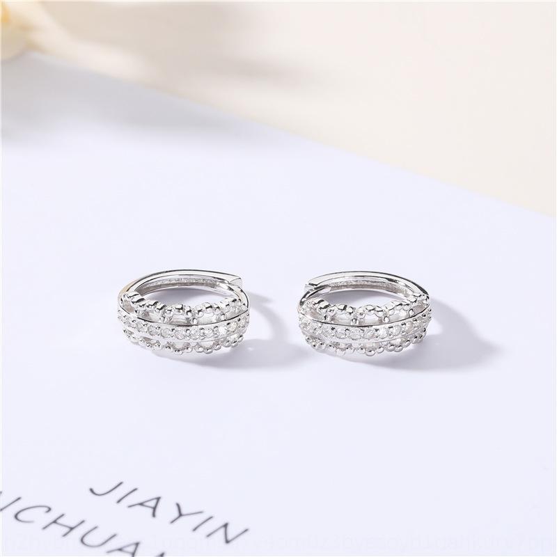 1acgf S925 plata de ley japonesa y el estilo de moda de Corea del doble de la fila doble fila pendientes de la oreja de diamantes aretes de diamante de circonio earwomen