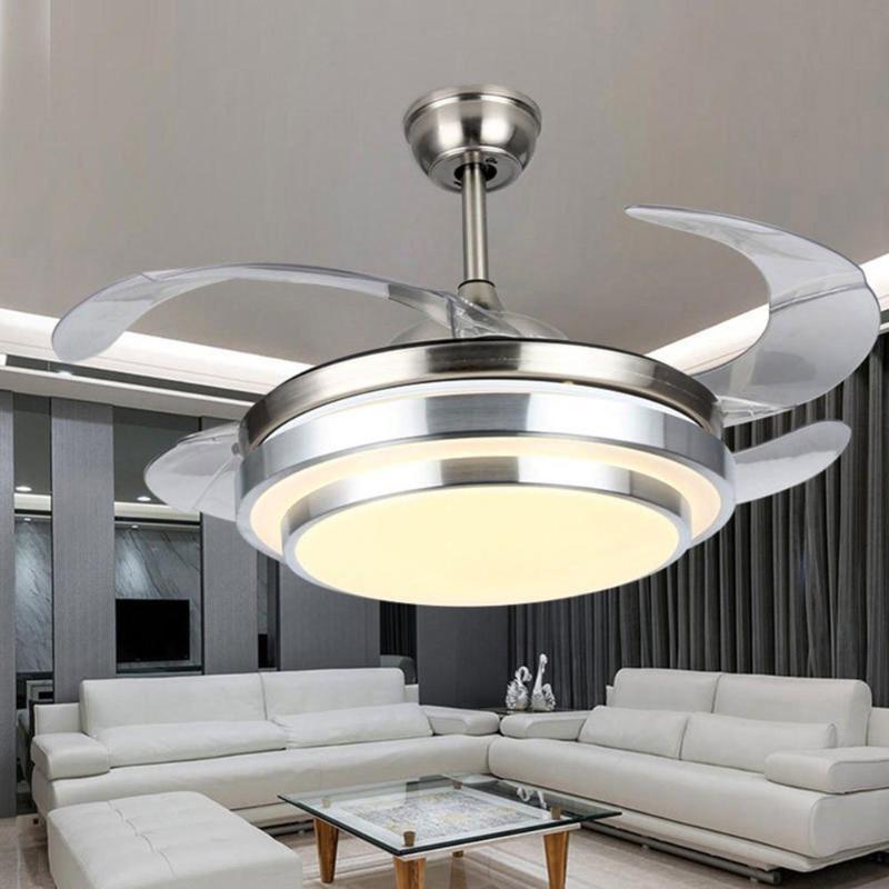Ventilateurs électriques Plafonnier moderne avec lustre à LED Contrôle de la télécommande des lames rétractables 3 vitesses 3Couleurs changements d'éclairage