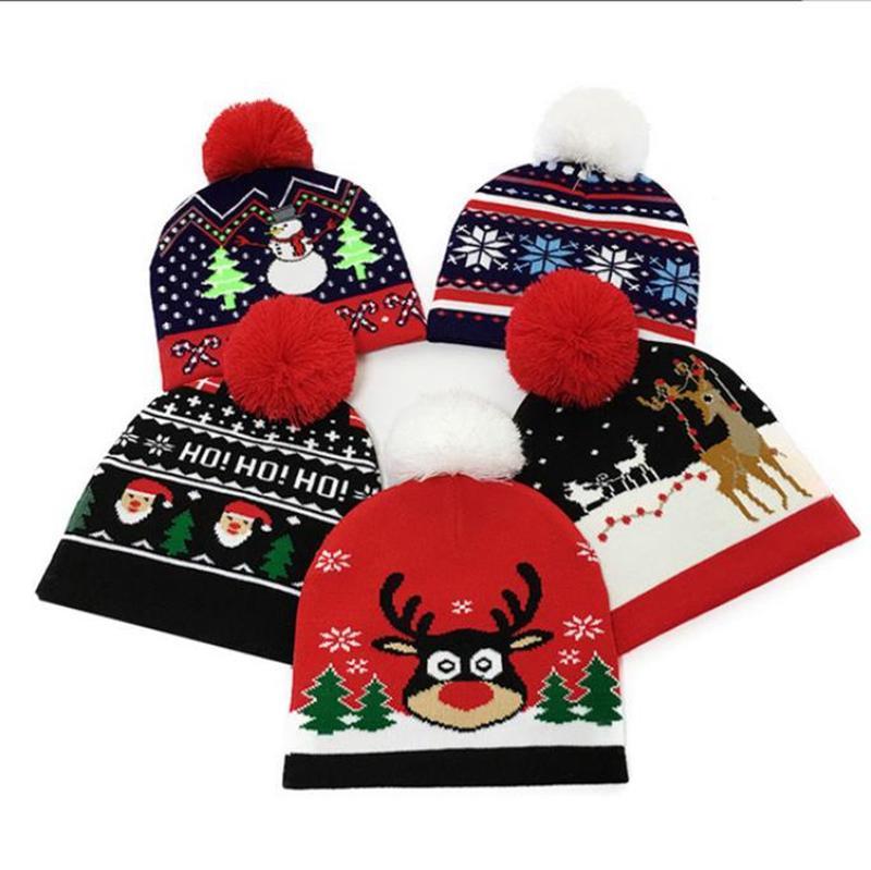 Cappello di Natale Berretti di lana lavorato a maglia bambini Pom Pom Cappelli inverno del bambino caldo Headwear protezione esterna di Natale regalo dei bambini 5 disegni BWC2127