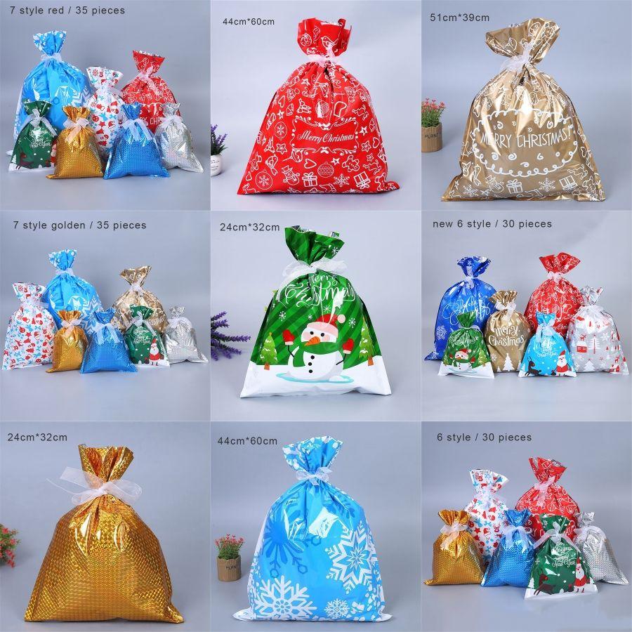Saco do presente de Natal de plástico Set Imitação Linho Sólidos Jóias Armazenamento Bundle Macio Natal, Daily bolso # 97422