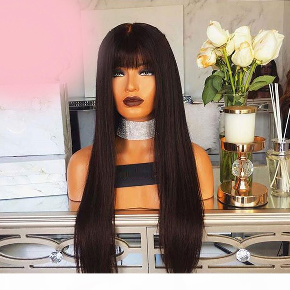 Rectas peluca de encaje peluca delantera del cordón del nuevo chino virgen cubierta de pelo de cabello humano sin cola peluca llena del cordón de las explosiones blanqueados nudos para las mujeres Negro