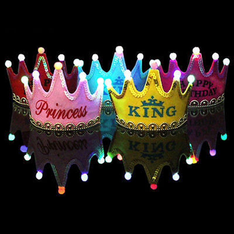 Sombreros de fiesta 1 unids LED Lámparas de gorra de la corona Luz del príncipe y la princesa Sombrero para la decoración de cumpleaños Niños Ducha de bebé 9Z