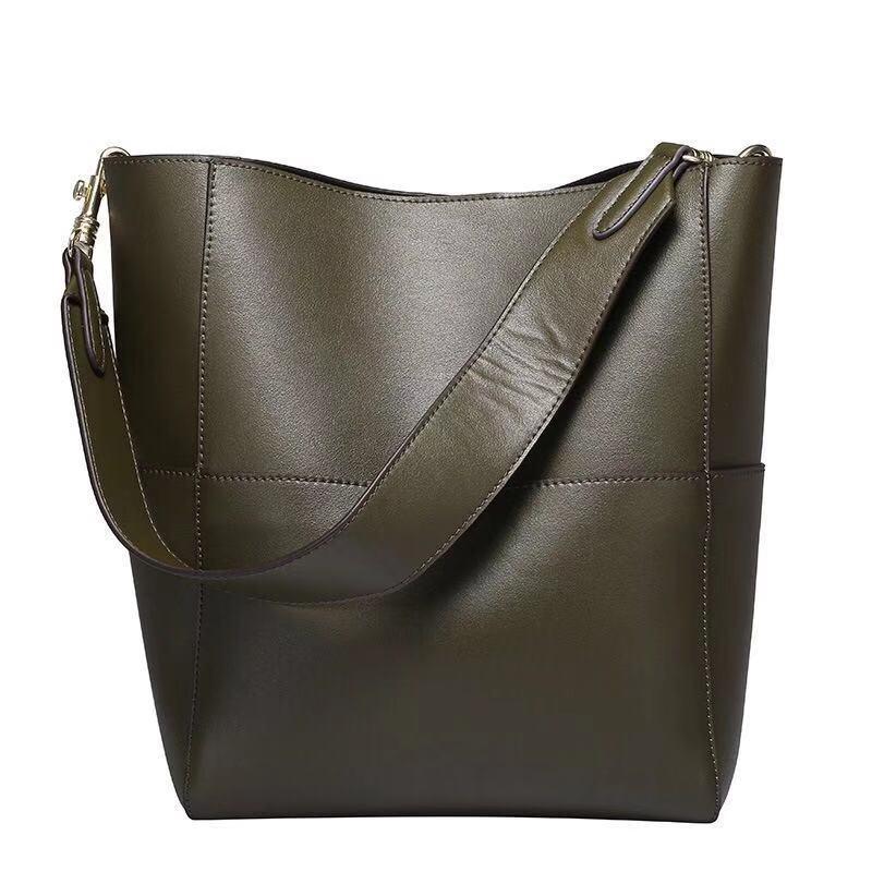 Neue große Taschen-Beutel für Frauen reale echtes Leder-Handtaschen Eimer weiblich Luxus Berühmte Marken-Dame-Schulter Brown Bag Designer