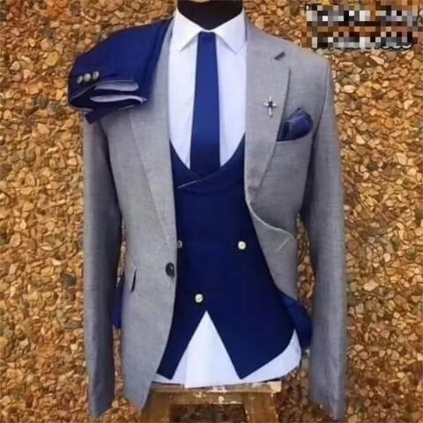 2020 gris bleu slim ajustement italien costume hommes blazer formelle broyé smoking smoking costume pour costume de veste de bal homme mariage 3 pièces