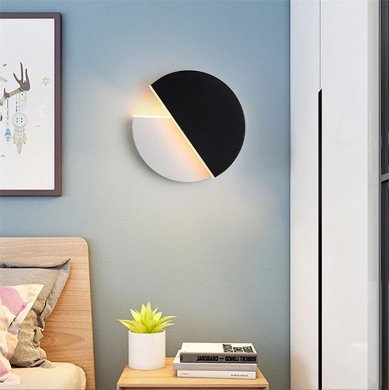 Вращающийся Wall Light Nordic Постмодернистского Гостиные лампы круглой луна Бра для спальни висячих украшений подсвечников