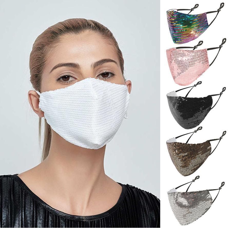 Tasarımcı yüz maskeleri lüks siyah Payet moda yüz maskesi yetişkin bling elmas maskesi nefes ve ince maske karışımı rengi toz geçirmez