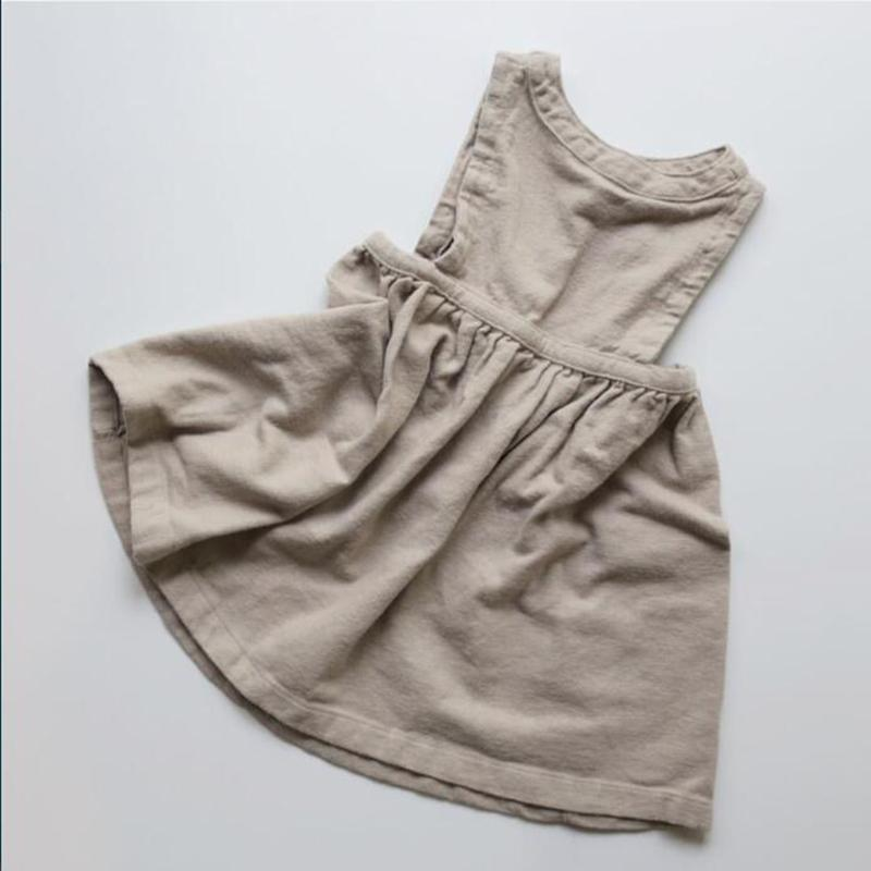 Girls pinkgrey linen dress with pockets for ages 1-16