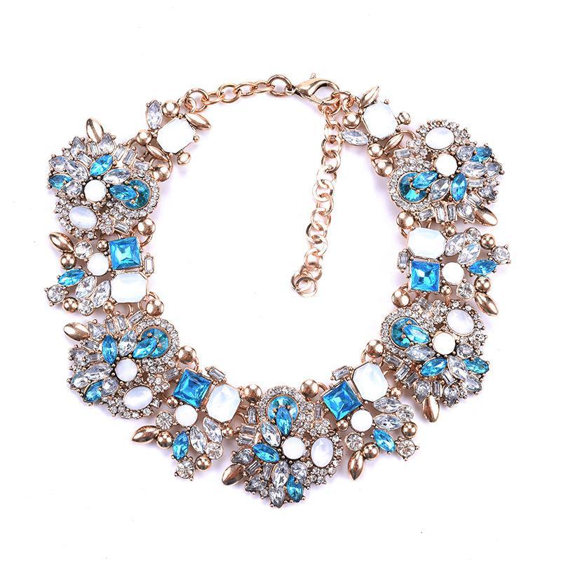 Nueva europea y las mujeres de América del collar de las mujeres grandes de la manera pendientes de diamantes total exagerada de lujo collar LY068