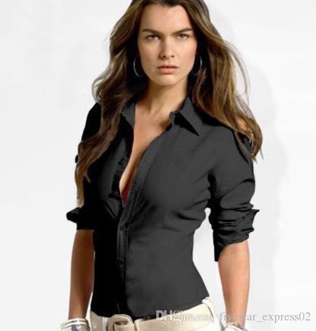 المرأة رخيصة الصلبة قميص بولو الصغيرة الحصان كم طويل عارضة قمصان السيدات أزياء ربيع الخريف الأعمال البلوزات OL تي شيرت أسود أبيض S-XL