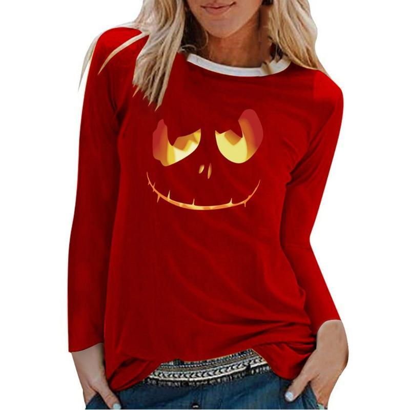 2020 Womens Halloween Top Loose Long Sleeve V-Neck Mid-Length Printed T-Shirt