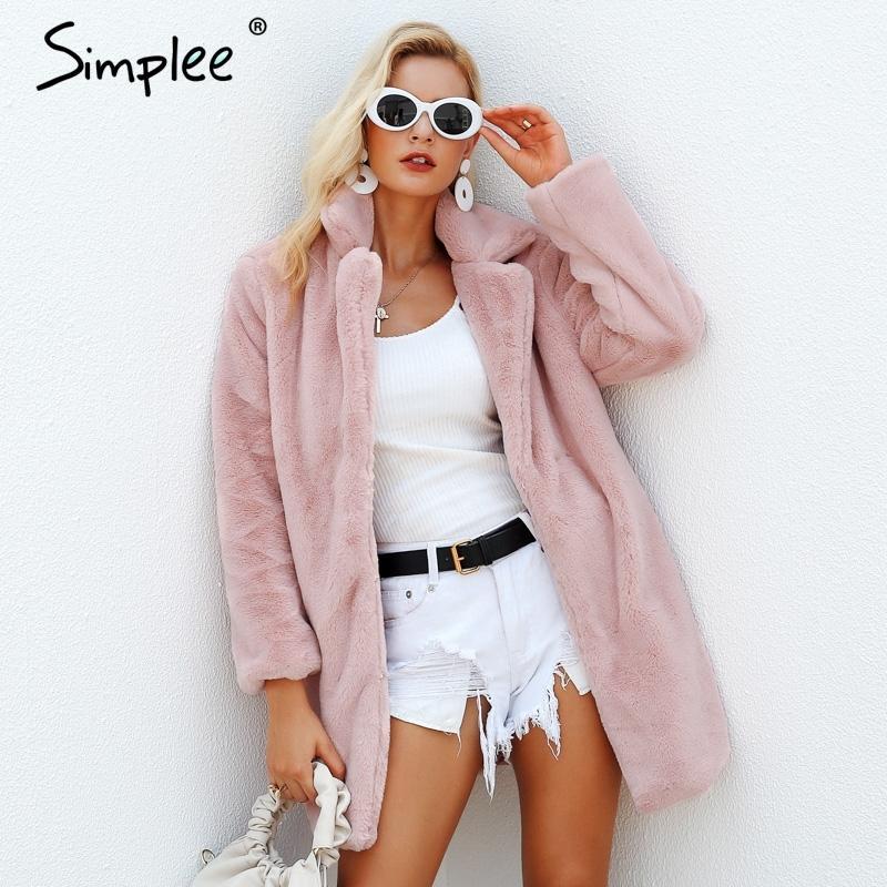 SimpLee Элегантные розовые мохнатые женщины из искусственного меха пальто осень зима уличной теплый плюшевого пальто женщина плюс размер пальто партии 200924