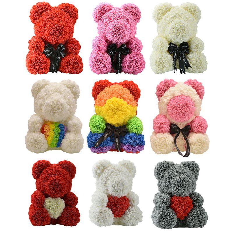 Presentes Dropshiping 40 centímetros de luxo Rose urso Teddy Bear Rosas Rose Artificial Flower Ano Novo para Mulheres Valentines presente de aniversário C0924