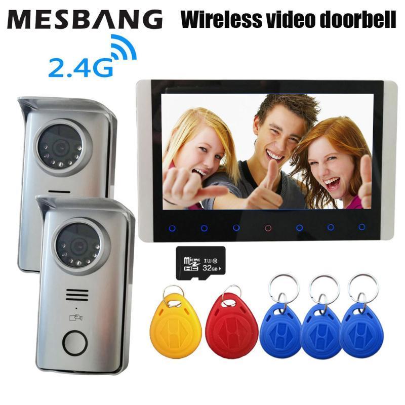 New 2.4G vídeo sem fio campainha intercomunicador campainha chamando com 7 polegadas desbloqueio suporte do monitor a porta com cartão de ID