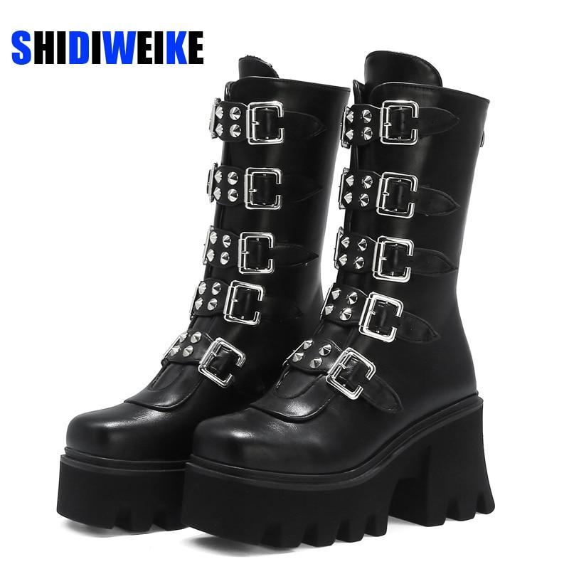 Cuoio sexy Fibbia autunno delle donne stivali tacco Scarpe gotica della piattaforma di stile punk nero femminile calzature di alta qualità plus size