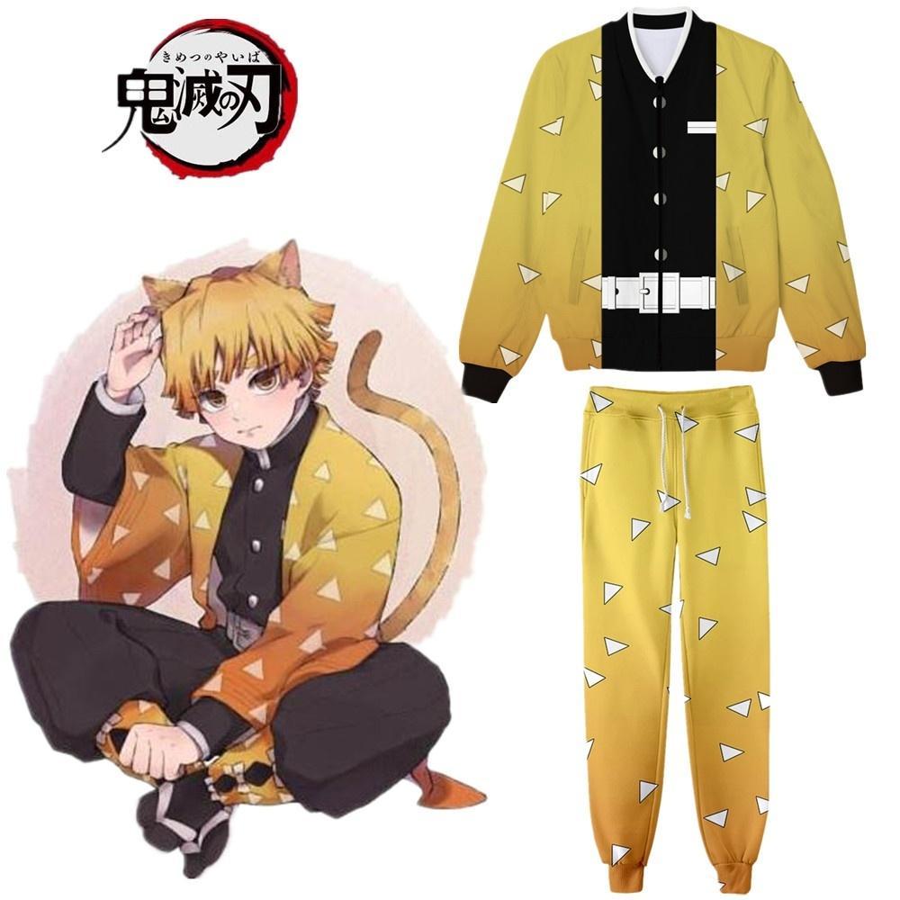 Anime Demon Slayer Kimetsu Yok Yaiba Agatsuma Zenitsu Cadılar Bayramı Cosplay Kostüm Coat Ceket Hoodie Spor Tam Set