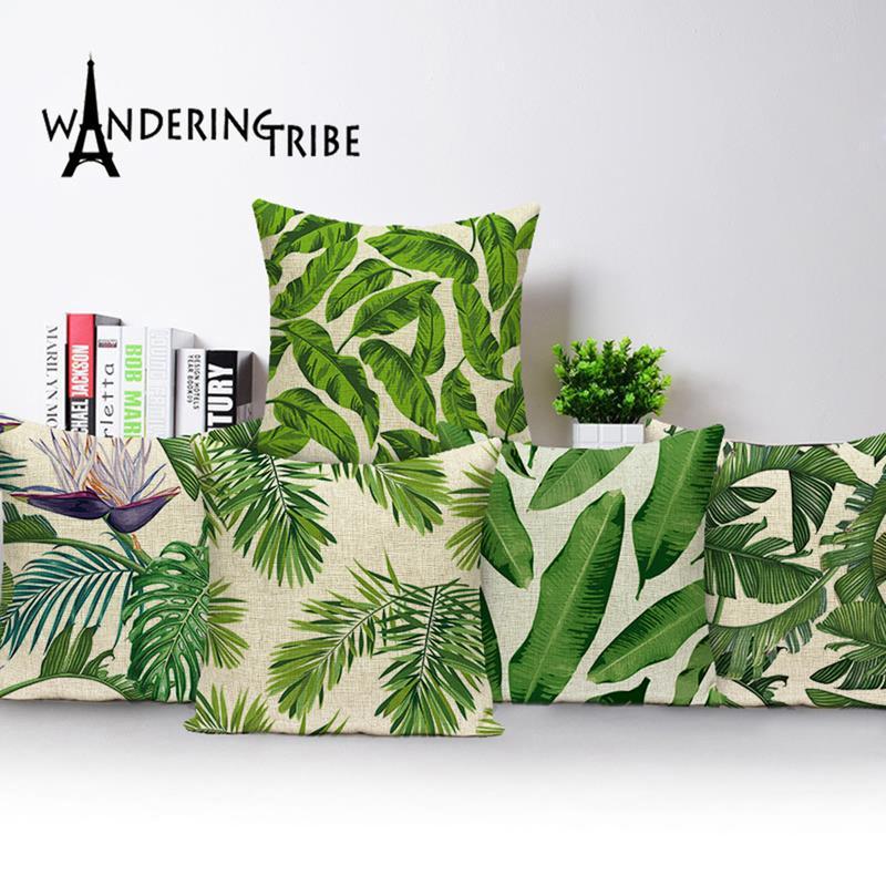 Imprimer Tropical Couverture Oreiller Feuilles Throw Housse de coussin d'oreiller en lin 45x45 cm Cas décoratifs de haute qualité Kissen