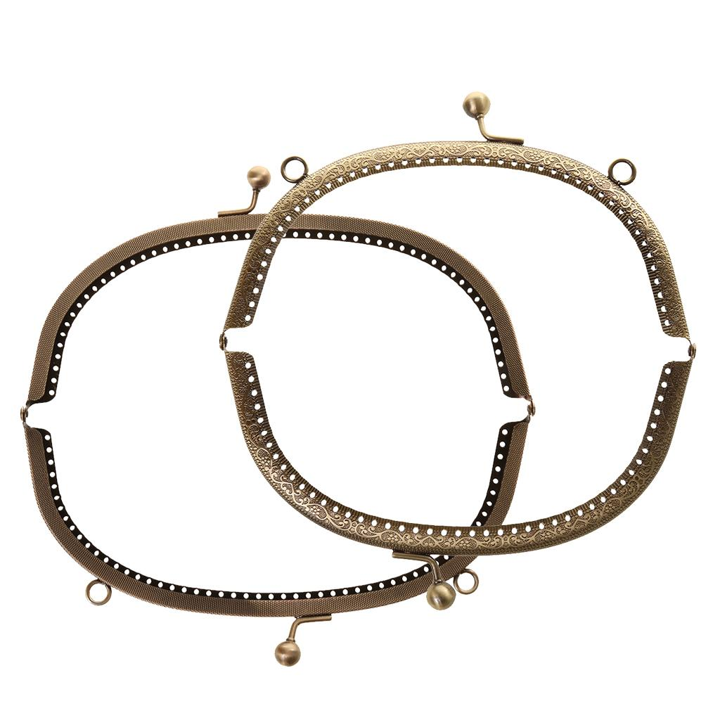 16.5//20cm Vintage Metal Frame Kiss Clasp Lock Arch with Handle for Handbag Purse Bags
