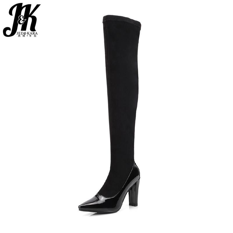 Botas JK 2021 Saltos altos sobre o joelho PU fêmea sapatos de inverno bota elástica aquecido aguçado de ponta do pé grande tamanho grande 34-43