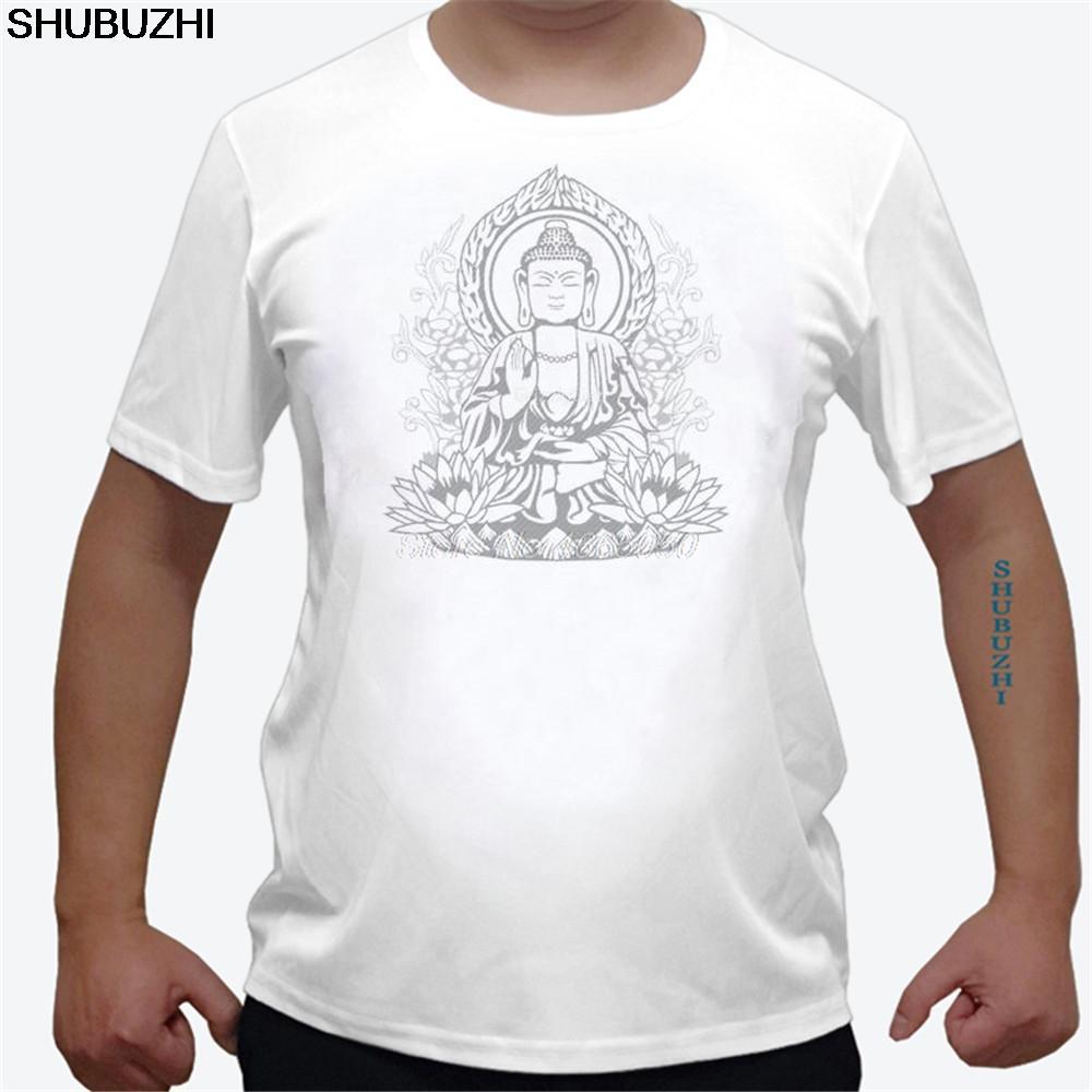 Camiseta de algodón del hombre budismo manga corta camiseta cuello redondo Camiseta de Buda del tamaño adulto euros de descuento camiseta para los hombres