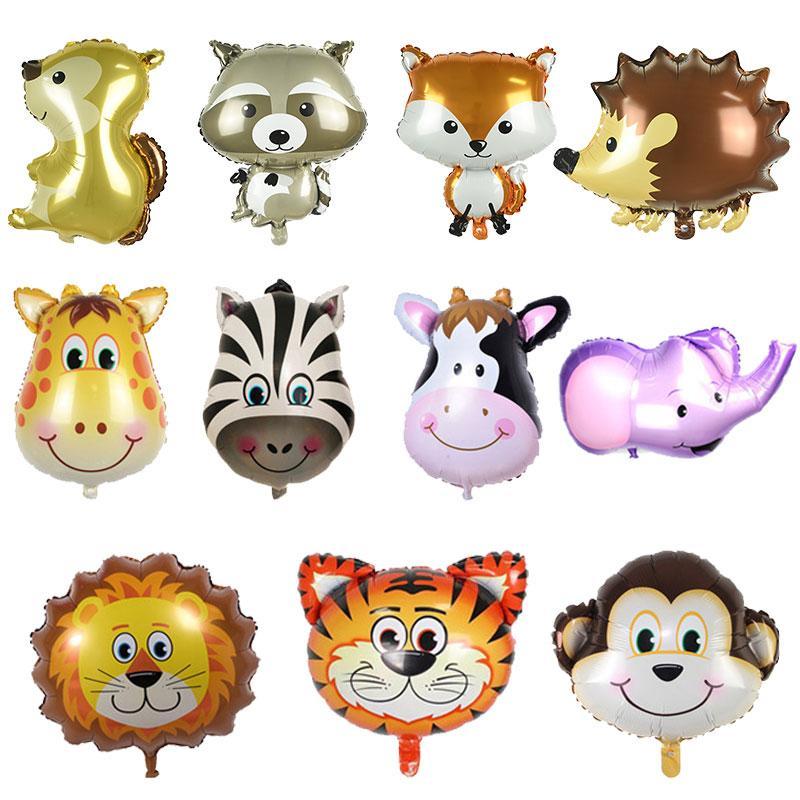 Tema Animal Zoo Safari palloncino del leone della tigre della mucca Raccoon decorazioni Zebra Hedgehog Foil Palloncino a elio Bambini festa di compleanno