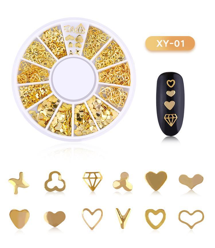 Decoração Art 10 caixas de metal 3D Nail Art Insígnia de Ouro metal Cadeia Beads Linha Multi-tamanho Cobra óssea DIY Nail em 1 Box Roda