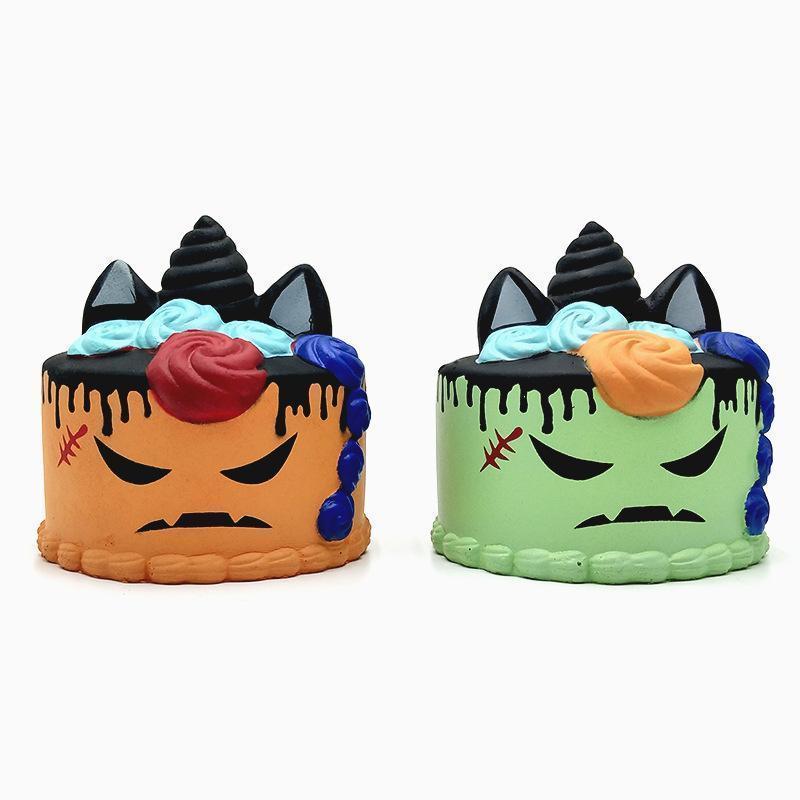 Simulación de la torta del unicornio blando rebote lento de Halloween juguetes para apretar 2018 Pu descompresión del juguete de la historieta de Kawaii encantos C5035