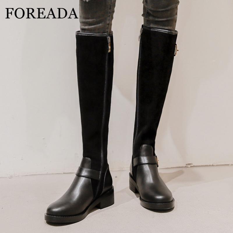 FOREADA Med calcanhar joelho alta botas de couro real botas de montaria Mulheres Plataforma do bloco do salto longo Zip Shoes Buckle básica Preto 40
