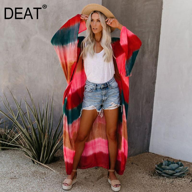 DEAT 2020 new summer fashion women clothes batwing sleeves striped sunscreen cardgian female loose outfits WM801012