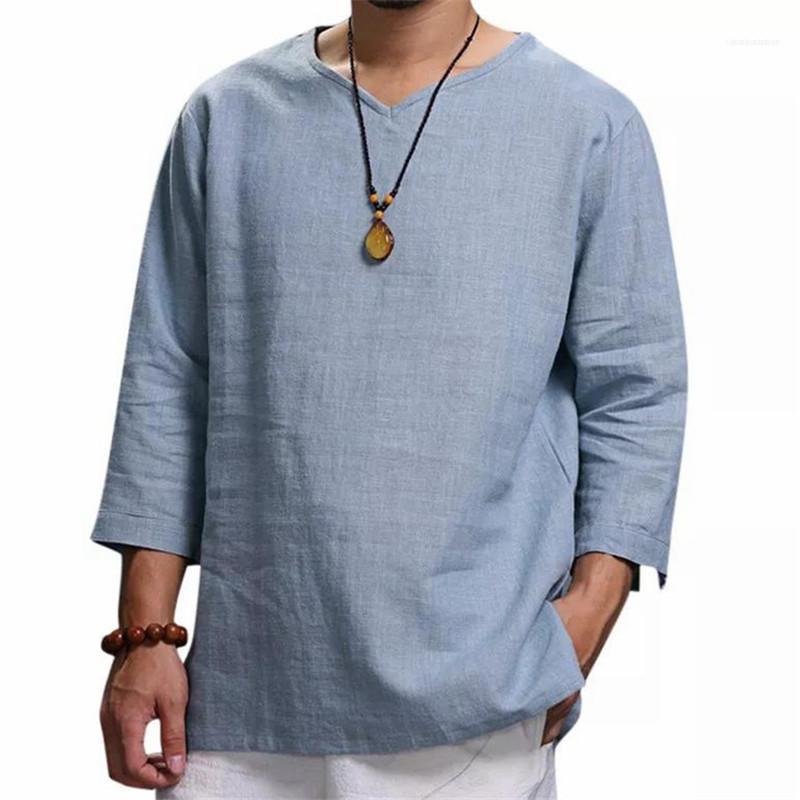 Мужчины Tshirts Casual Male Tops Сплошной цвет Мужчины МАЙКИ с длинным рукавом V шеи завернутые