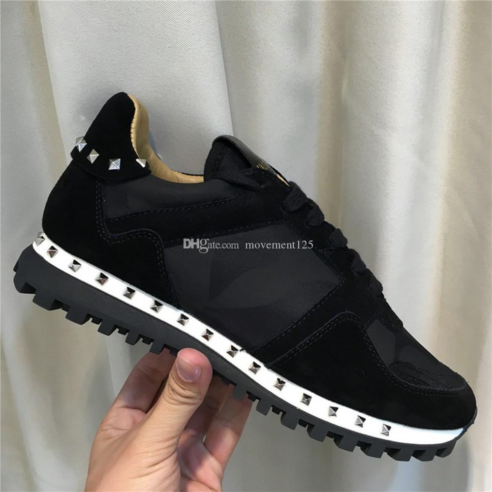 Hombres Mujeres Camo gamuza de cuero zapatos planos de las zapatillas de deporte del remache tachonado camuflaje Rockrunner la zapatilla de deporte de los zapatos ocasionales de vestir Trainer con la caja
