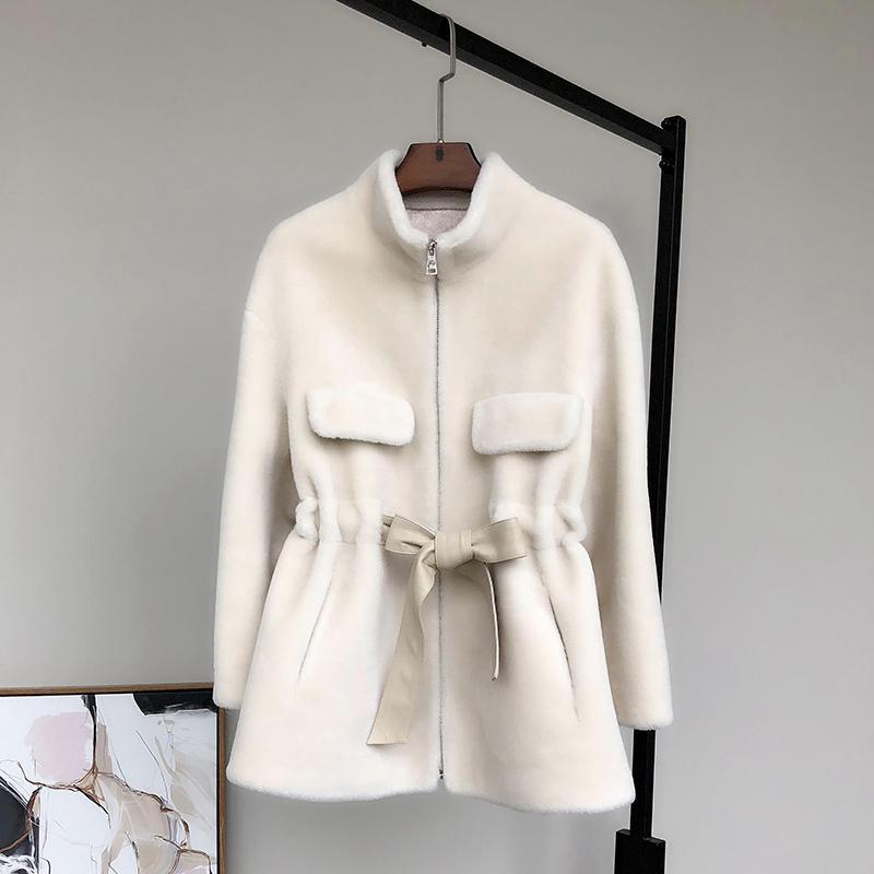 Nerazzurri Zip up ladies cappotto donne orsacchiotto fasce lunga manica della giacca invernale orso di peluche finto montone giacca 2020 donne adatta T200915