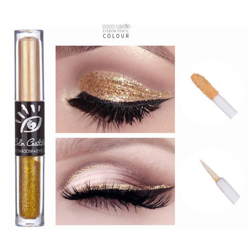 6 Renk Göz Farı Makyaj Göz Gölge'nin 1pc Muhteşem Metaller Glitter ve Glow Göz Farı 2'de 1 Işıltılı Makyaj DC68