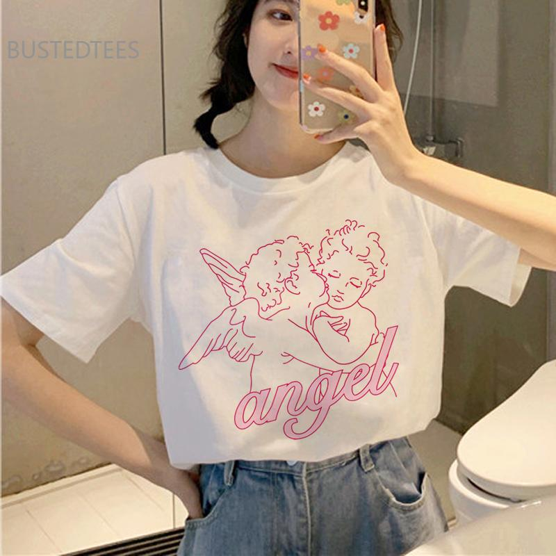 Angel Aesthetic Kawaii T Shirt Women Harajuku Korean Style T-Shirt Ullzang Cute Grunge Tshirt 90s Graphic Fashion Top Tee Female