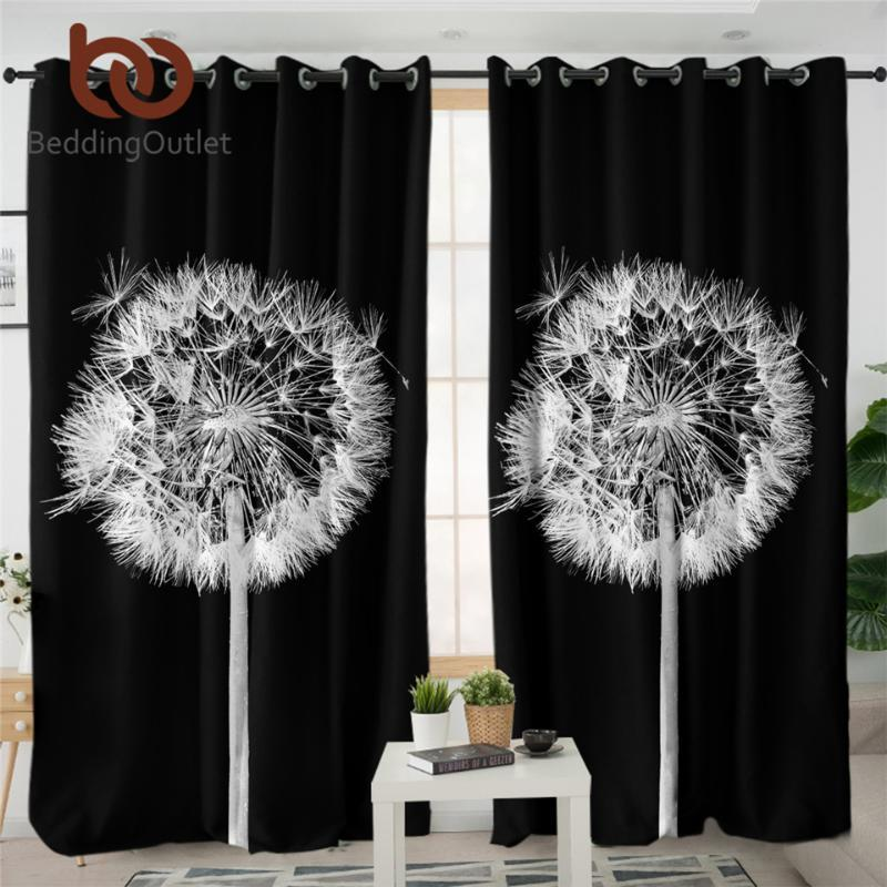 BeddingOutlet Dandelion Blackout Curtains Flower Window Treatment 3D Print Black and White Photography Curtains For Living Room