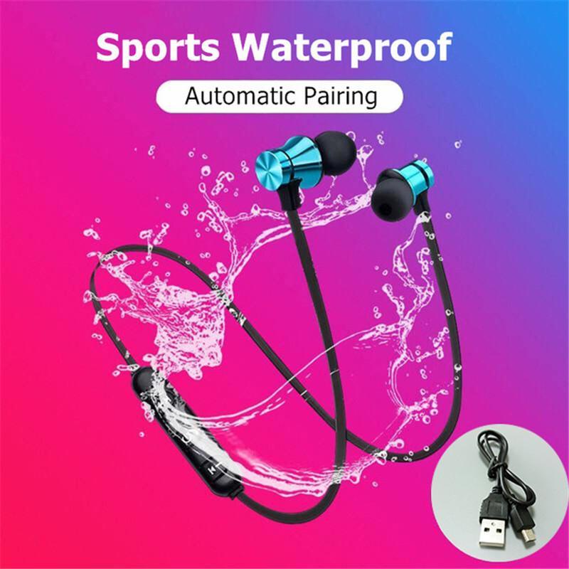 Magnetische 4.2 Bluetooth Kopfhörer drahtlose Kopfhörer Stereo Sport Musik wasserdichte Ohrhörer Neckband Headset Mic für