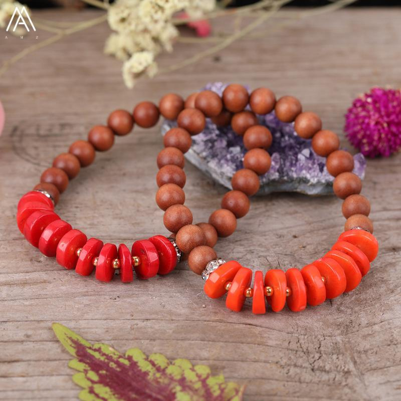 Natural Orange Red Coral Heishi Slab Beads 8mm Fragrant Wood Sandalwood Prayer Beads Elastic String Bracelet Meditation Jewelry