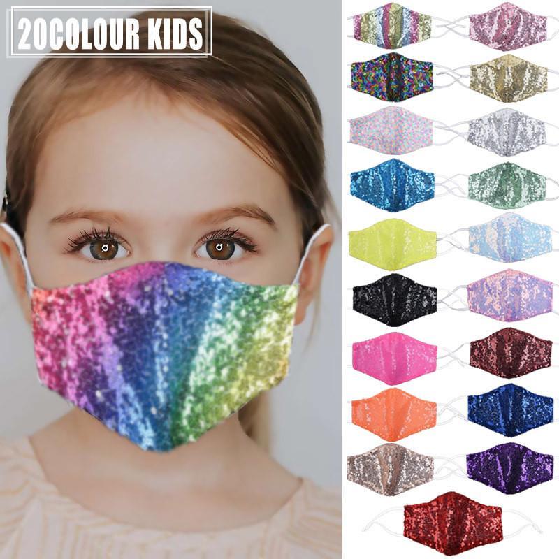 Maschera Maschera bambini Bling Bling Paillettes protezione antipolvere PM2.5 Bocca Maschere riutilizzabile lavabile bambino faccia può inserire il filtro 10pcs