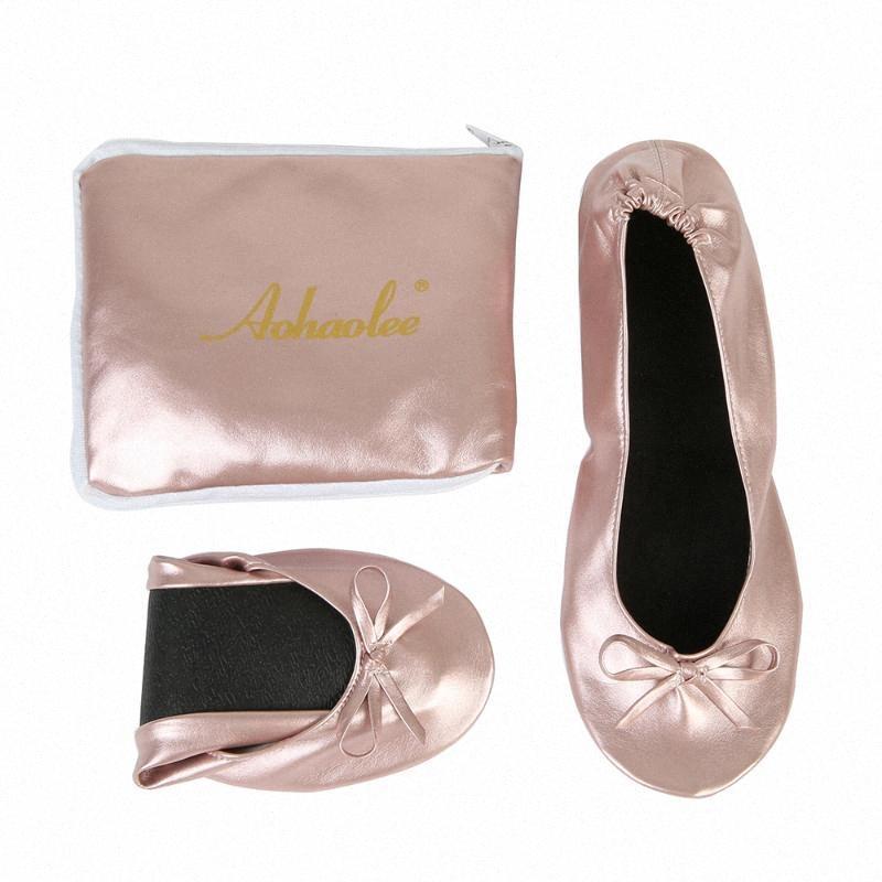 Frauen-Schuh-Ebene bewegliche Falte Up Ballerina-flache Schuhe Roll Up Faltbare Ballett After-Party für Braut Hochzeitsfestbevorzugung oTkU #